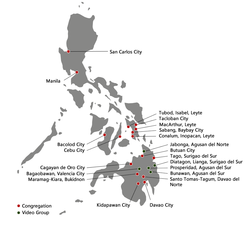 Map of UCG Congregations in the Philippines